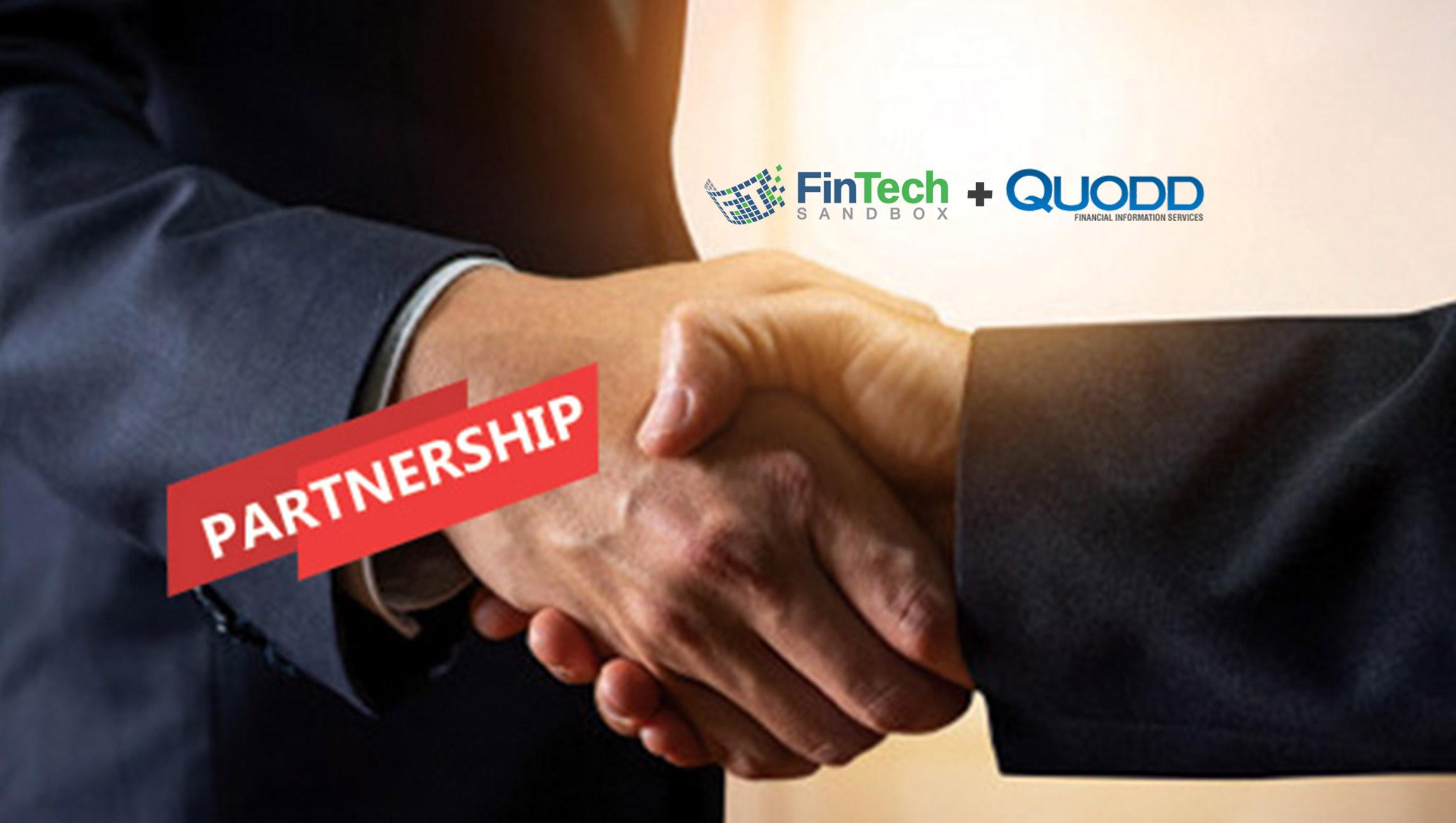 QUODD Financial Information Services Joins FinTech Sandbox as Data Partner, Making Market Data Available through Flexible Technology to FinTech Startups